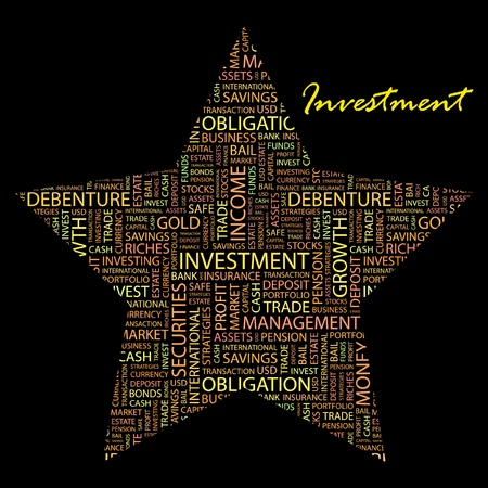 installment: INVESTMENT. Word collage on black background. Vector illustration. Illustration with different association terms.