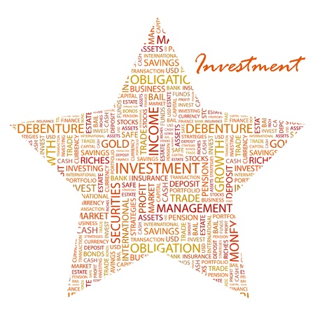 INVESTMENT. Word collage on white background. Vector illustration. Illustration with different association terms.    Vector