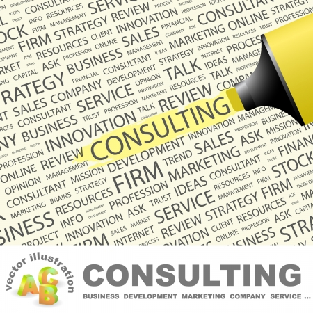 CONSULTING. Highlighter over background with different association terms. Vector illustration.