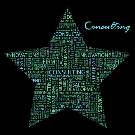 CONSULTING. Word collage on black background. Vector illustration. Illustration with different association terms.    Vector