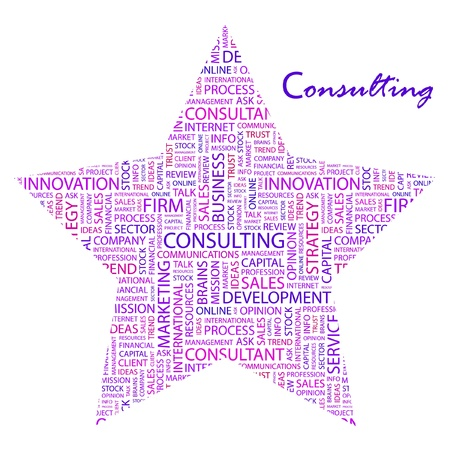 CONSULTING. Word collage on white background. Vector illustration. Illustration with different association terms.    Vector