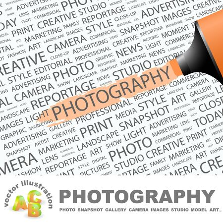 photoshop: PHOTOGRAPHY. Highlighter over background with different association terms. Vector illustration.