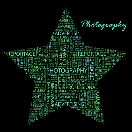 PHOTOGRAPHY. Word collage on black background. Stock Vector - 9906568