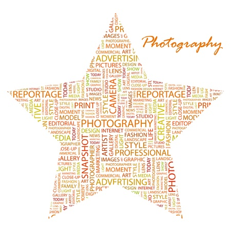 PHOTOGRAPHY. Word collage on white background. Vector illustration. Illustration with different association terms.    Vector