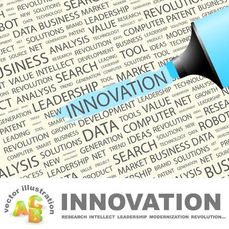 innoveren: INNOVATIE. Markeerstift op achtergrond met verschillende vereniging voorwaarden. Vectorillustratie.