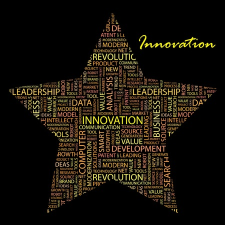 INNOVATION. Word collage on black background. Vector illustration. Illustration with different association terms.    Vector