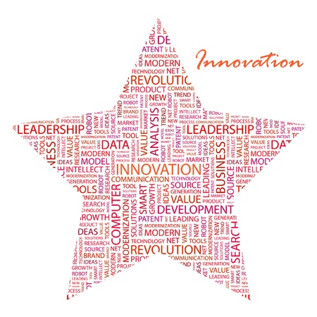 INNOVATION. Word collage on white background. Vector illustration. Illustration with different association terms.    Stock Vector - 9409243