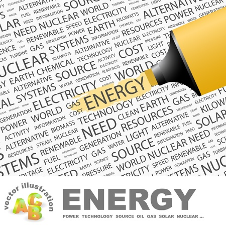stationery needs: ENERGY. Highlighter over background with different association terms. Vector illustration. Illustration