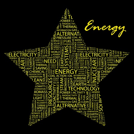 renewables: ENERGY. Word collage on black background. Vector illustration. Illustration with different association terms.
