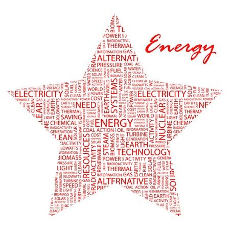 renewables: ENERGY. Word collage on white background. Vector illustration. Illustration with different association terms.