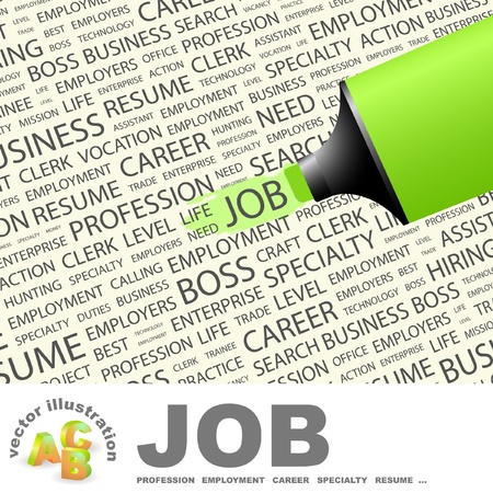 job hunting: JOB. Highlighter over background with different association terms. Vector illustration. Illustration