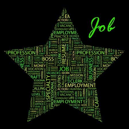 lifework: JOB. Word collage on black background.   Illustration