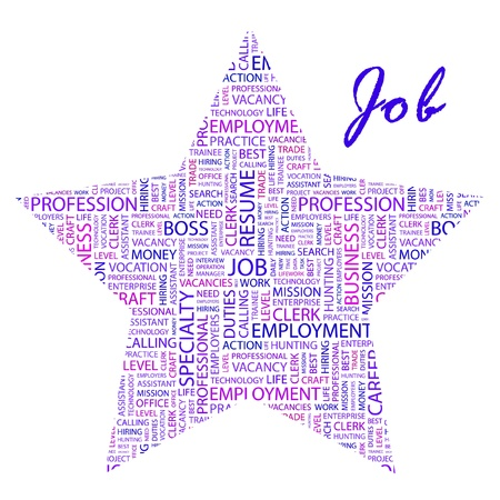 job hunting: JOB. Word collage on white background. Vector illustration. Illustration with different association terms.