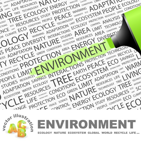 ENVIRONMENT. Highlighter over background with different association terms. Vector illustration. Stock Vector - 9409318