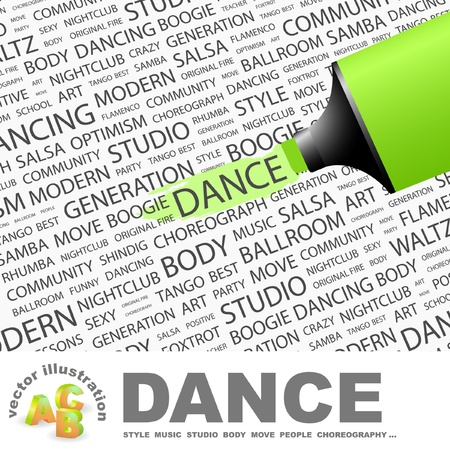salsa dancing: DANCE. Highlighter over background with different association terms. Vector illustration.