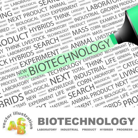 BIOTECHNOLOGIE. Surligneur sur fond avec des termes différents association. Illustration vectorielle.