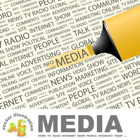 online newspaper: MEDIA. Highlighter over background with different association terms. Vector illustration. Illustration