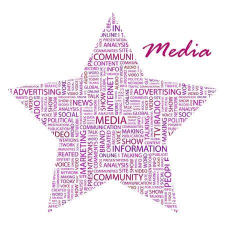MEDIA. Word collage on white background. Vector illustration. Illustration with different association terms.    Vector