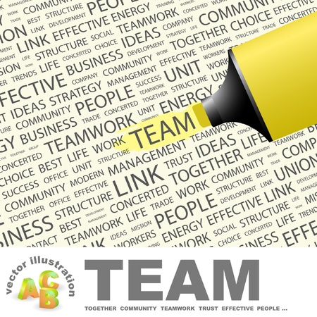 concerted: TEAM. Highlighter over background with different association terms. Vector illustration.