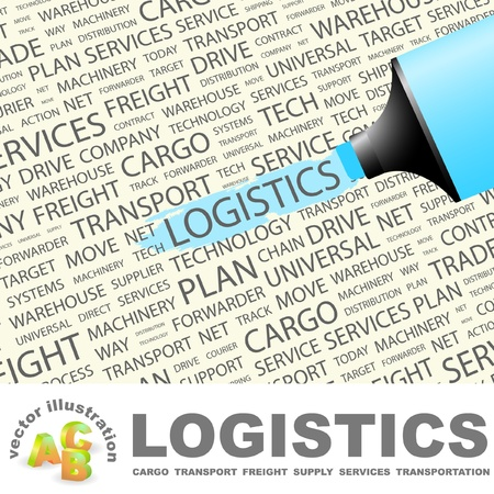 LOGISTICS. Highlighter over background with different association terms. Vector illustration.