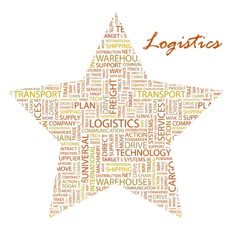 LOGISTICS. Word collage on white background. Vector illustration. Illustration with different association terms. Stock Vector - 9409251