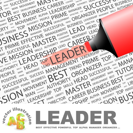 felügyelő: LEADER. Highlighter over background with different association terms. Vector illustration. Illusztráció