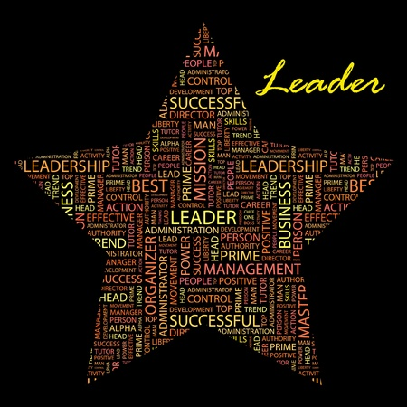 kingpin: LEADER. Word collage on black background. Vector illustration. Illustration with different association terms.