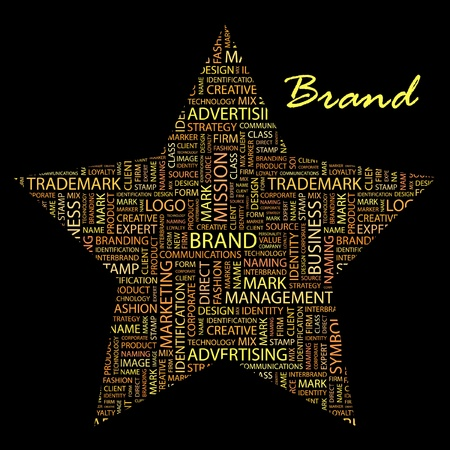 interbrand: BRAND. Word collage on black background illustration. Illustration with different association terms.    Illustration