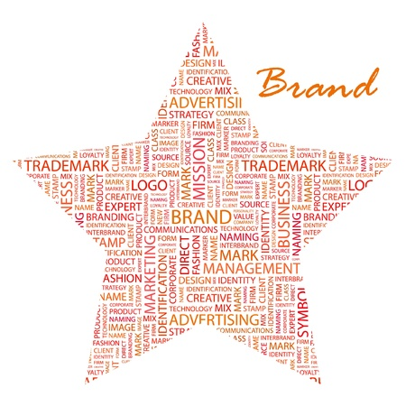 interbrand: BRAND. Word collage on white background. Vector illustration. Illustration with different association terms.