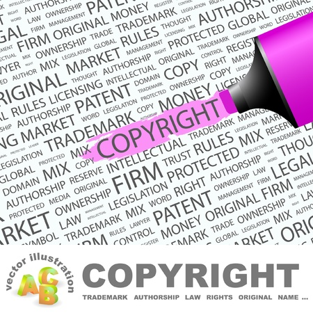 COPYRIGHT. Highlighter over background with different association terms. Vector illustration. Vector
