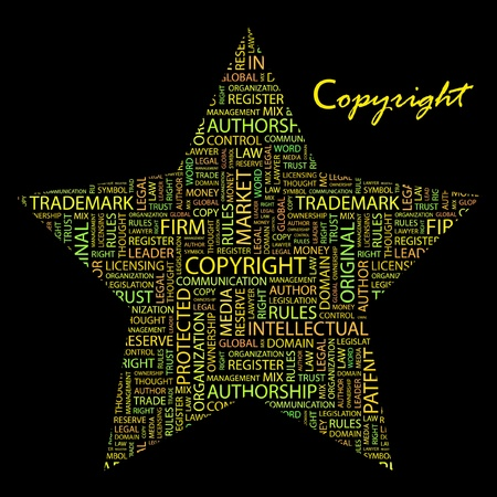 COPYRIGHT. Word collage on black background. Vector illustration. Illustration with different association terms. Stock Vector - 9409224