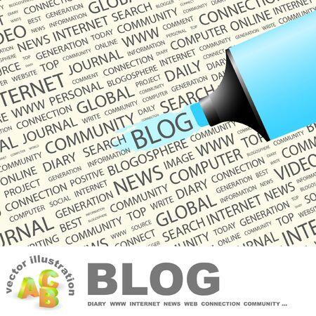 BLOG. Highlighter over background with different association terms. Vector illustration. Illustration