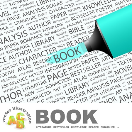 synopsis: BOOK. Highlighter over background with different association terms. Vector illustration.