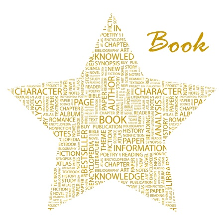 BOOK. Word collage on white background. Vector illustration. Illustration with different association terms.    Vector