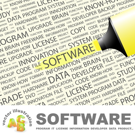 open source: SOFTWARE. Highlighter over background with different association terms. Vector illustration. Illustration