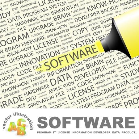 quelle: SOFTWARE. Textmarker gegen�ber dem Hintergrund mit verschiedenen Association Bedingungen. Vektor-Illustration. Illustration
