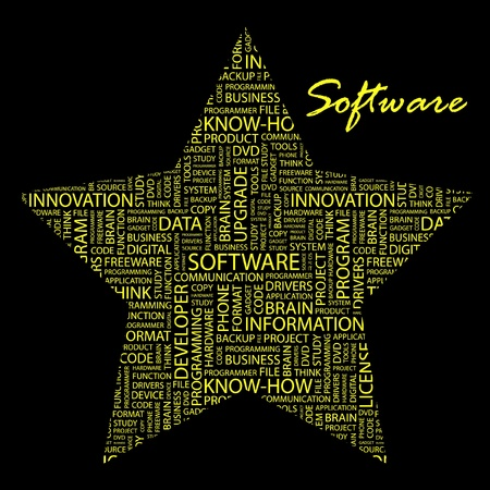 SOFTWARE. Word collage on black background. Vector illustration. Illustration with different association terms.    Vector