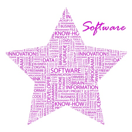SOFTWARE. Word collage on white background. Vector illustration. Illustration with different association terms.    Vector