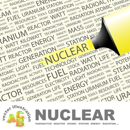 NUCLEAR. Highlighter over background with different association terms. Vector illustration. Stock Vector - 9409297