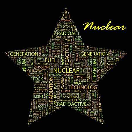 NUCLEAR. Word collage on black background. Vector illustration. Illustration with different association terms. Stock Vector - 9409221