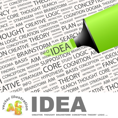 axiom: IDEA. Highlighter over background with different association terms. Vector illustration. Illustration