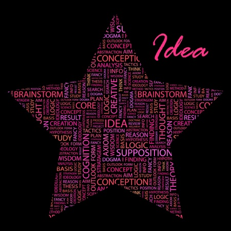 IDEA. Word collage on black background.  Vector