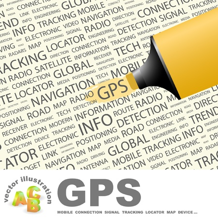 portable radio: GPS. Highlighter over background with different association terms illustration.   Illustration