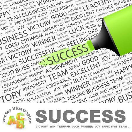 SUCCES. Markeerstift op achtergrond met verschillende vereniging voorwaarden. Vectorillustratie. Vector Illustratie