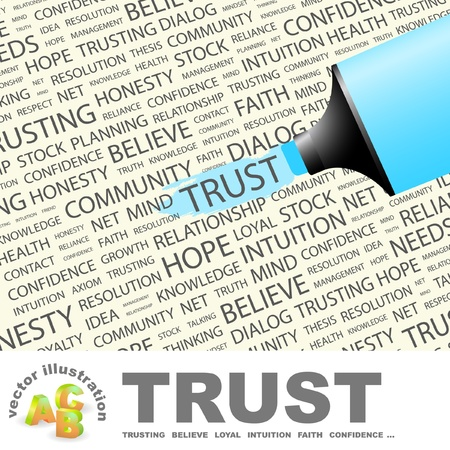 axiom: TRUST. Highlighter over background with different association terms illustration.   Illustration