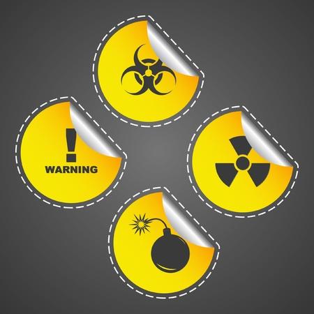 Warning vector label. Vector template.    Illustration