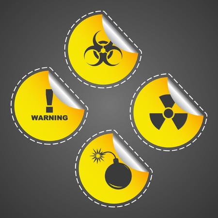 Warning vector label. Vector template.    Stock Vector - 9409070