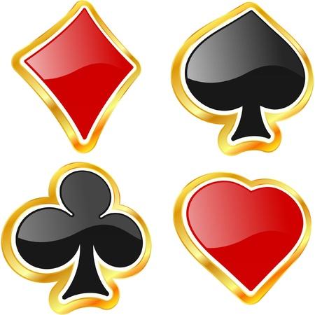 jackpot: Combinaisons de cartes. Vecteur ensemble.