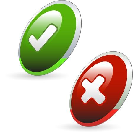 preferencia: Conjunto de iconos aprobados y rechazados. Ilustraci�n vectorial.