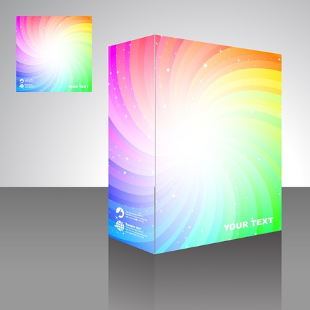size distribution: Colorful packaging box. Abstract illustration.